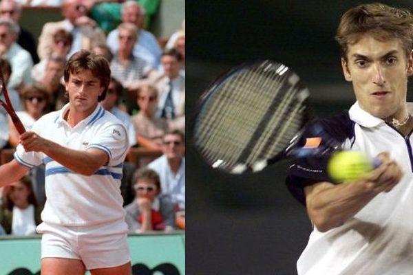 A gauche, Henri Leconte en 1988 lors de la finale du Roland-Garros. A droite, Nicolas Escudé en 2011 lors de la coupe Davis.
