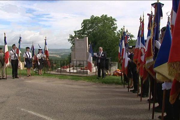 Cérémonie du Maquis Liberté à Urcy en hommage aux résistants fusillés pendant la Seconde Guerre Mondiale, dimanche 23 juillet 2017.