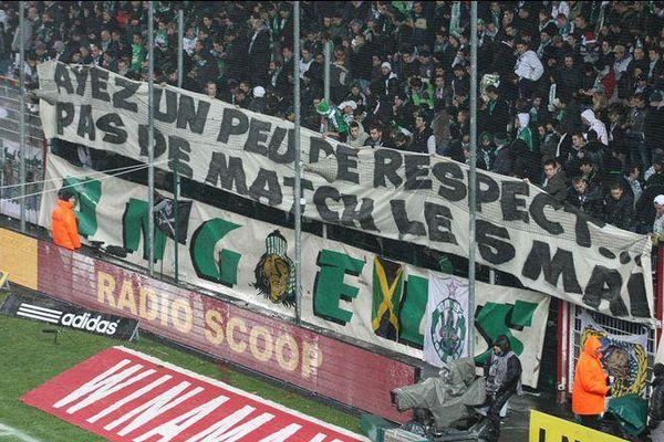 """L'une des photos mises en avant par les supporteurs de l'ASSE sur leur compte twitter, qui se défendent d'être des """"supporteurs à risque"""" suite à l'arrêté d'interdiction de déplacement pris par le préfet de Haute-Corse pour le match de Ligue 1, du 2 mai 2015"""