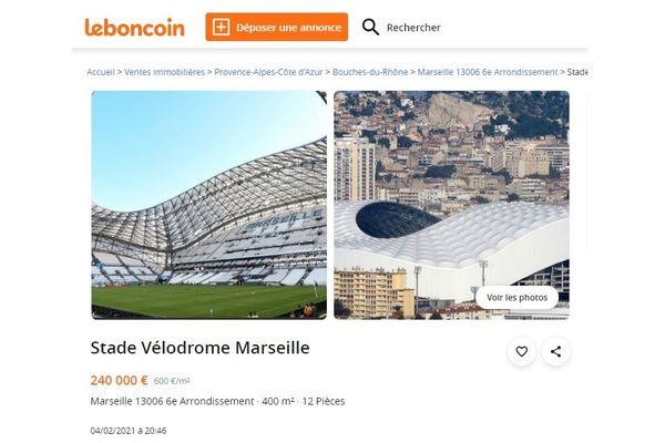 Capture d'écran de l'une des nombreuses annonces qui proposent le Stade Vélodrome à vendre sur le site Le Bon Coin.