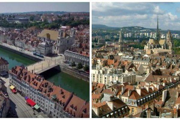 Besançon et Dijon vues du ciel