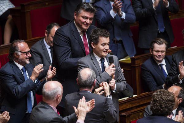 Gérald Darmanin, au micro, à l'Assemblée nationale. Archive du 9 avril 2014