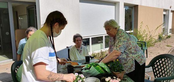 """Atelier fleurs à l'Ehpad """"Les colombes"""""""