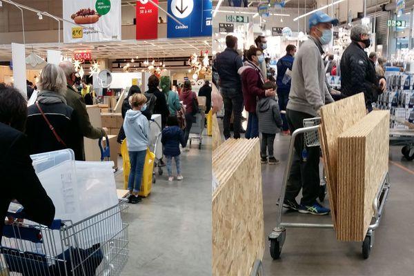 Les magasins Ikea de Lyon Grand-Parilly et Castorama de Bourgoin-Jallieu (Isère) ont été pris d'assaut, jeudi 29 octobre, par de très nombreux clients venus faire leurs courses juste avant le début du confinement, pour faire des travaux, ou de la cuisine pendant 1 mois.