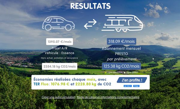 Résultat de la simulation sur l'éco-comparateur TER Grand-Est pour un trajet Reims-Strasbourg.