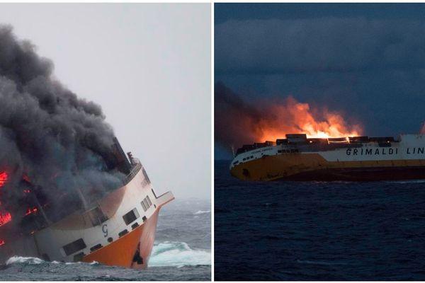 """Le """"Grande America"""" en proie aux flammes a fini par couler dans le Golfe de Gascogne"""