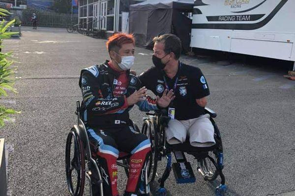 Frédéric Sausset et Takuma Aoki lors de la journée test des 24 heures du Mans le 15 août 2021