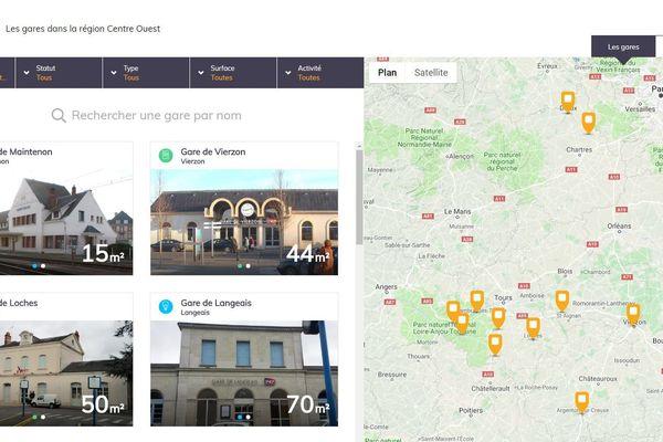 Capture écran du site www.1001gares.fr en région Centre-Val de Loire.