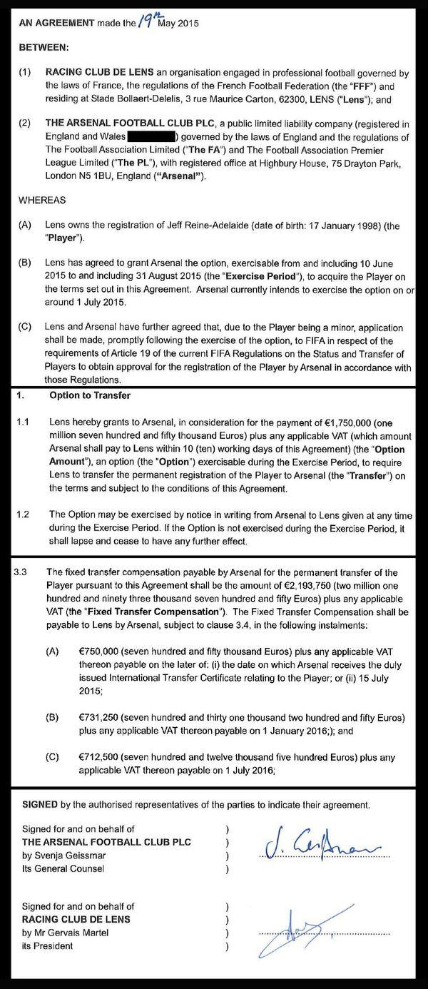L'option de transfert signée le 19 mai 2015 par Lens et Arsenal pour Jeff Reine-Adelaïde