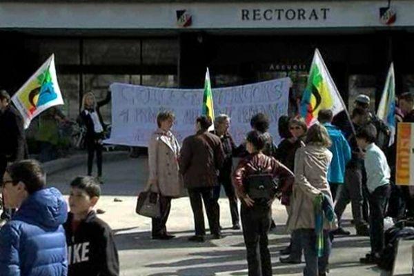 Vendredi 22 mars, les enseignants du collège Vercors avaient déjà manifesté devant le rectorat