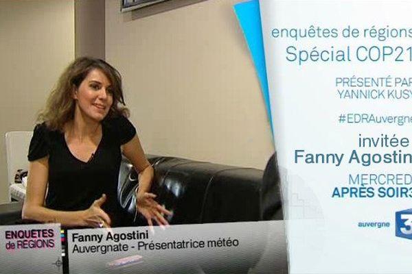 Fanny Agostini, auvergnate, présentatrice météo : invitée de Enquêtes de Régions Spécial #COP21