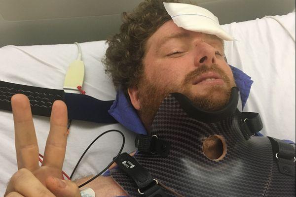 Pascal Campbell-Jones sur son lit d'hôpital au CHU de Poitiers. Il y est resté une quinzaine de jours avant de pouvoir regagner son domicile.