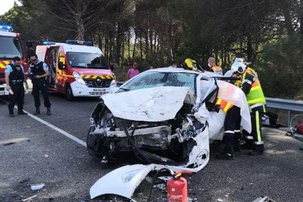 Saint-Geniès-de-Comolas (Gard) - grave accident, une collision frontale a fait 2 blessés graves - 31 juillet 2020.