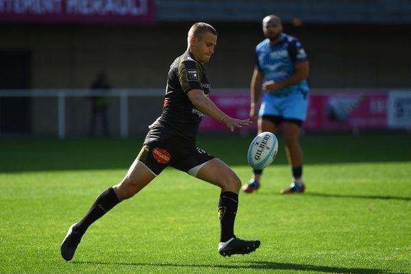 Le Rochelais Jules Plisson, auteur de cinq pénalités dans ce match de Top 14 face à Montpellier.