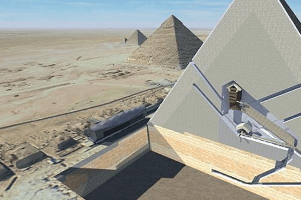 Une vue en coupe 3D de la Grande Pyramide de Gizeh révélant ses chambres intérieures