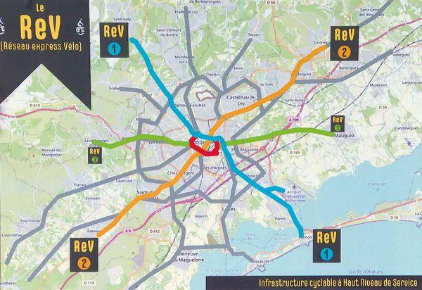 Le réseau REV de Montpellier.
