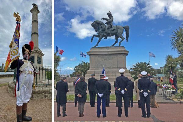5 mai 2021 : commémorations du bicentenaire de la mort de Napoléon en Normandie. A gauche : cérémonie au Val de la Haye (près de Rouen) à droite : à Cherbourg
