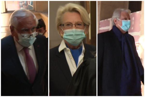 Jean-Pierre Raffarin, Michèle Alliot-Marie, Dominique de Villepin lors de leur audition par la cour d'assises spéciale de Paris.