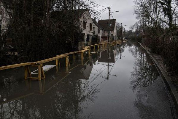 Des inondations à Villeneuve-Saint-Georges en février 2018.