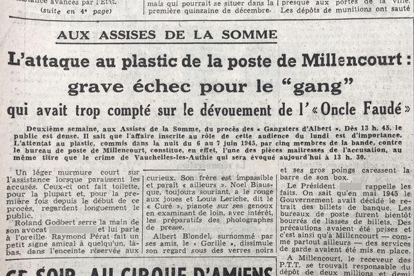 L'attaque au plastic de la poste de Millencourt, pièce maîtresse de l'accusation - Une du Courrier picard du 05/12/1950