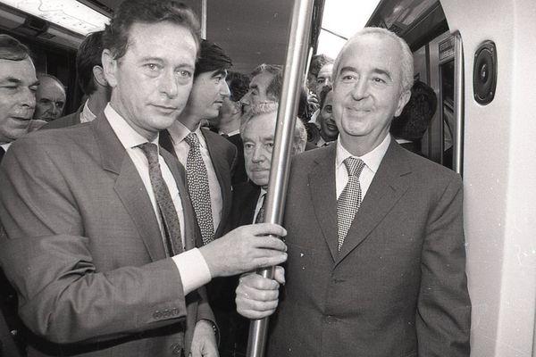 Dominique Baudis avec Edouard Balladur, premier ministre, lors de l'inauguration de la ligne A du métro en juin 1993