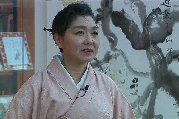 Mariko Assai est venue exposer ses oeuvres à la médiathèque de honfleur, le 2 février 2019.