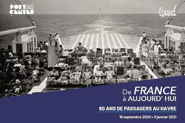 """Affiche de l'exposition """"de France à aujourd'hui, 60 ans de passagers au Havre"""""""