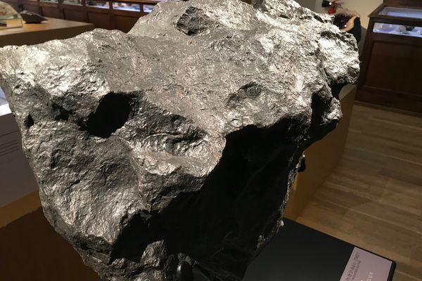 La météorite de Saint Aubin, 177 kg, découverte le 18 10 2003 dans l'Aube, exposée au Muséum d'Histoire naturelle de Nantes