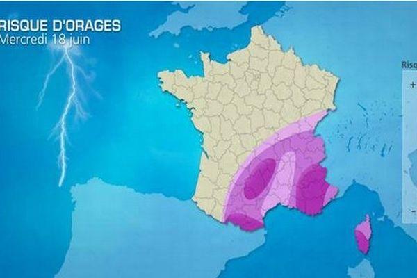 Capture d'écran Météo Consult, situation orageuse mercredi 18 juin sur un grand quart sud-est et en Corse