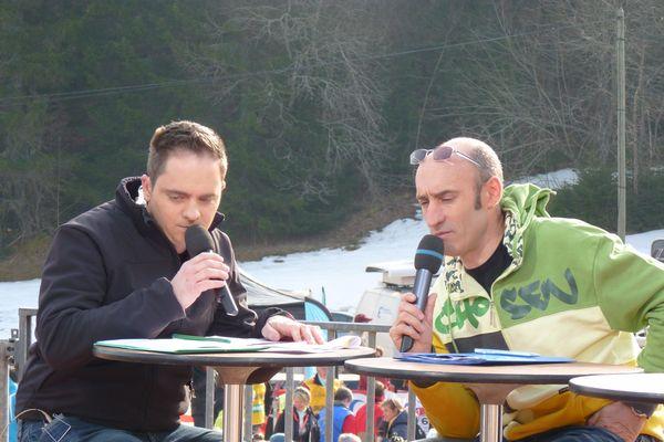 2011 : Hervé Balland (à droite) participe à la présentation de la Transjurassienne sur l'antenne de France 3 Franche-Comté