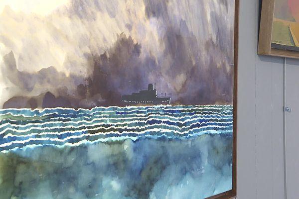Dans sa toute première exposition de peinture, Wiaz célèbre les éléments marins.