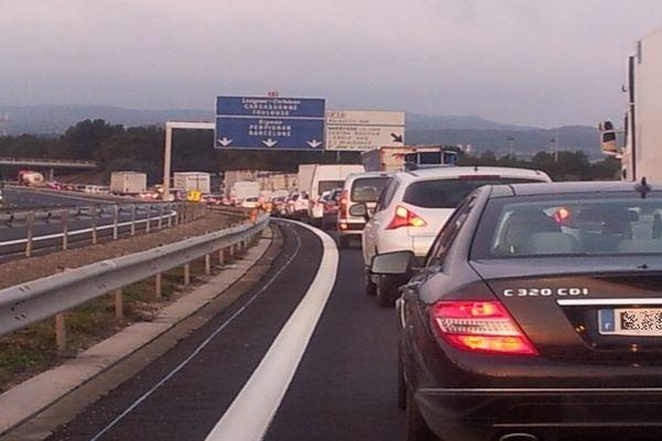 Narbonne (Aude) - bouchon sur l'autoroute A.9 - 2013.