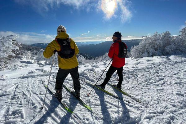 Skieurs de fond au Mont Aigoual le 5 janvier 2021