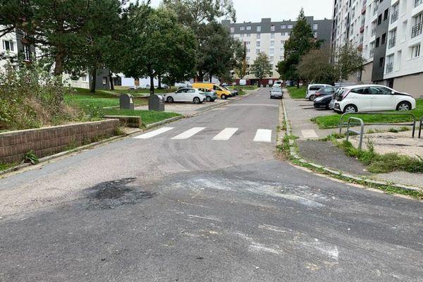 Le guet-apens s'est produit autour d'un feu de poubelle déclenché dans cette rue du quartier des Provinces. Il ne reste que les traces sur le bitume, ce lundi