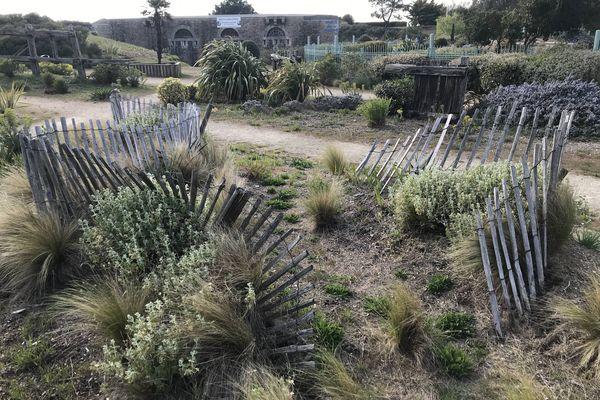 Un jardin d'inspiration littorale, avec des ganivelles qui luttent contre les tempêtes de sable, et le musée de la Marine