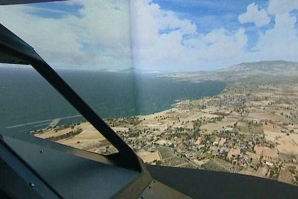 """Voilà ce que l'on peut voir de la cabine du simulateur au cours d'un """"vol"""" pour Gibraltar"""