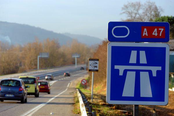 Portion de l'autoroute A47 entre Givors (département du Rhône) et Saint-Etienne (département de la Loire). Photo d'illustration.