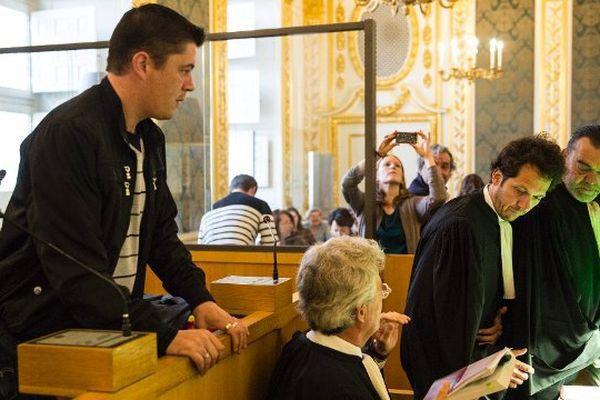 Daniel Legrand et ses avocats, le 27 mai 2015 à Rennes
