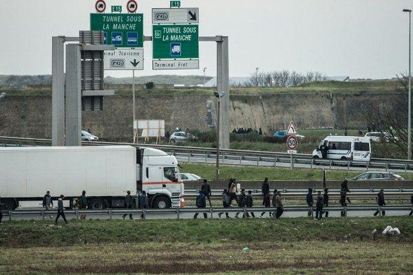 Près de Calais, des migrants en bordure d'autoroute le 3 décembre 2015
