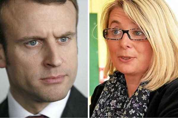 Emmanuel Macron (à gauche) et Corinne Erhel (à droite).