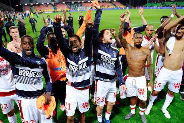 Les Girondins célèbrent leur victoire contre Metz, le 19 mai 2018 au stade Saint Symphorien.