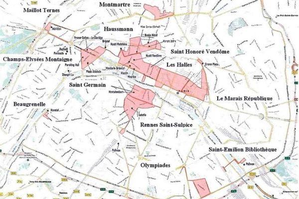Capture écran de la carte du projet des 12 futures zones touristiques internationales à Paris.