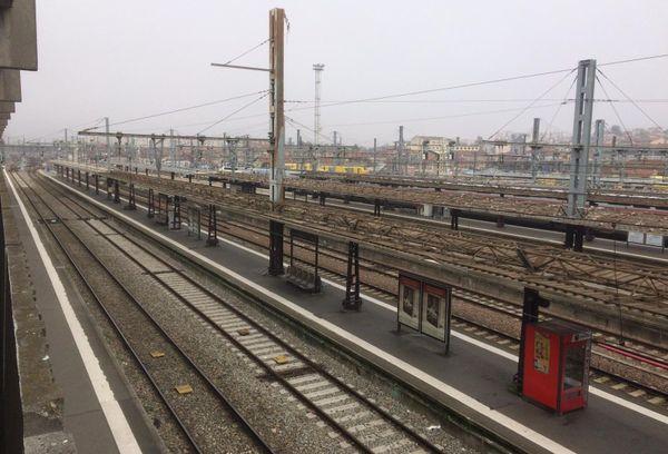 Gare Matabiau les voies sont désertes :  un seul TGV, peu de TER et aucun Intercités en circulation ce vendredi.