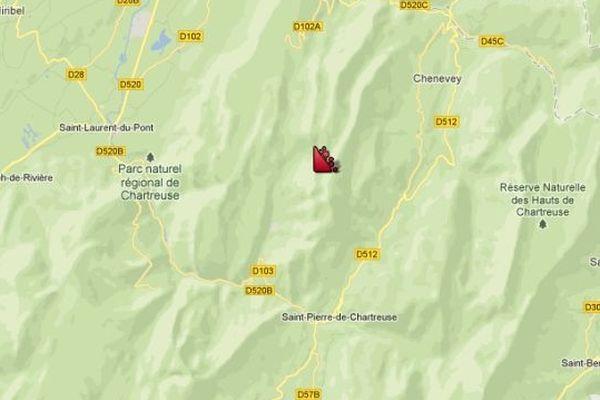 Lieu de l'avalanche à Saint-Christophe-sur-Guiers