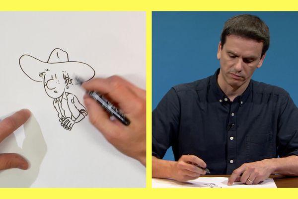 Jérôme Jouvray dans Trait pour trait nous dessine Eliot, personnage de la série Six coups