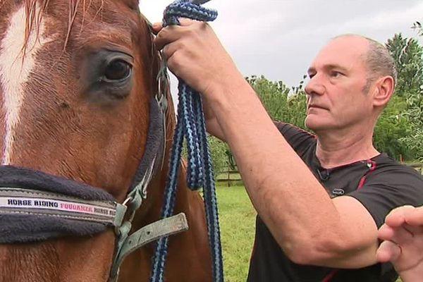 Depuis 6 mois, Luc, diagnostiqué schizophrène il y a huit ans, passe régulièrement du temps avec des chevaux.