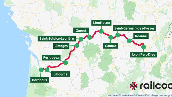 L'itinéraire et les villes desservies par le projet de ligne ferroviaire Bordeaux-Lyon de Railcoop