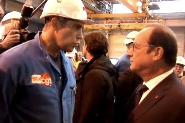 Le syndicaliste CGT Sébastien Benoit face à François Hollande