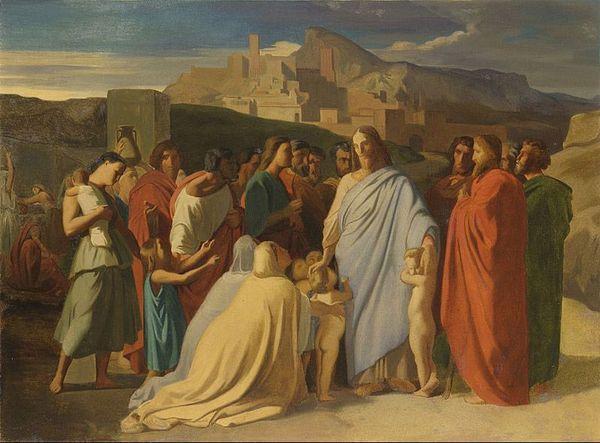 """Hippolyte Flandrin, esquisse de """"Jésus-Christ et les petits enfants"""", 1837.  Tableau conservé dans les collections du musée des Beaux-Arts de Lyon"""