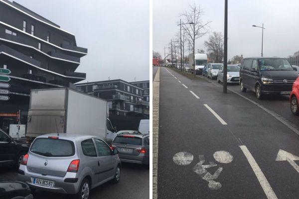 Les contrôles à la frontière ont provoqué des bouchons de plus de deux heures aux abords du pont de l'Europe, entre Strasbourg et Kehl ce mercredi.